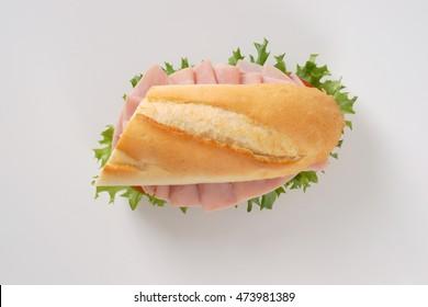 fresh sandwich with ham on white background