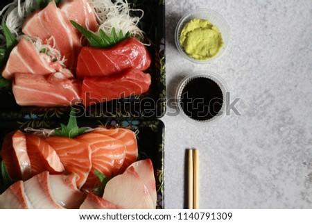 Sashimi Hamachi And Salmon Stock Photo Image Of Hamachi 35394842