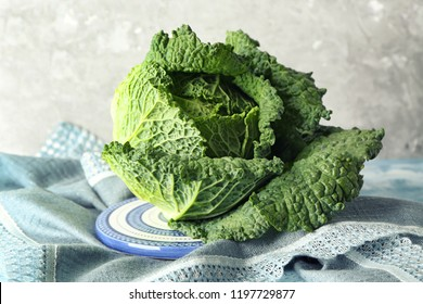 Fresh savoy cabbage on plate