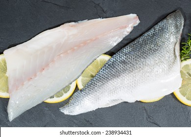 Fresh sea bass fillets and cut and clean