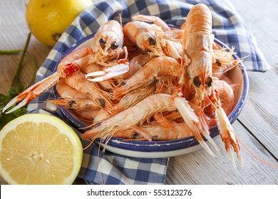 Fresh seafood, crayfish and prawns