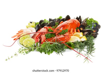 Fresh seafood dish with lobster on a white background