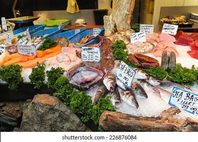 Fresh seafood at fish market stall