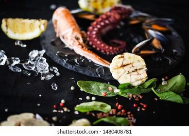 fresh seafood & grilled lemon and garlic