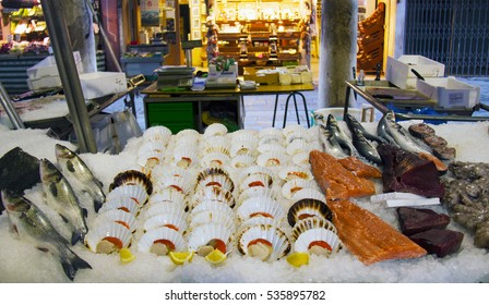 Fresh seafood on ice in Venice. Rialto fish markets, Italy.