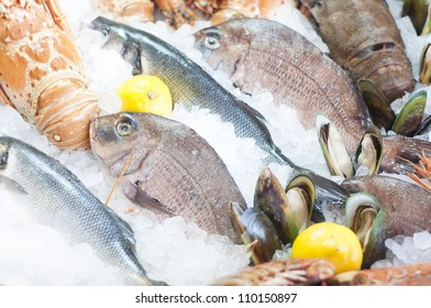 Fresh seafood photographed in a fish-market