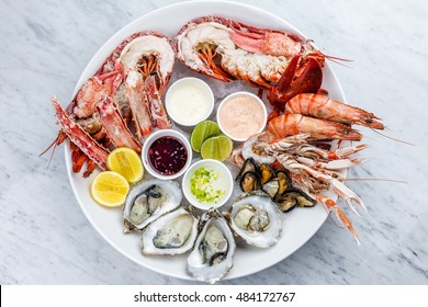 Fresh seafood plate with lobster, mussels and oysters