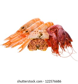 Fresh seafood - red prawns, lobsters, crabs  lie in a pile isolated on white background