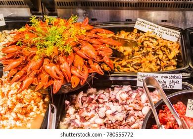 Fresh seafood in Vanha kauppahalli (Old Market Hall) in Helsinki, Finland