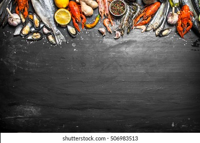 Fresh seafood. A wide range of shrimp, lobsters, octopus and other marine life. On a black chalkboard.