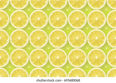 fresh seamless natural pattern made from many lemon and lime slices