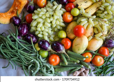 fresh seasonal vegetables and fruits, Concept of healthy nutrition and organic food. Perfect background for vegetarian or vegan. Farming and agricultural.
