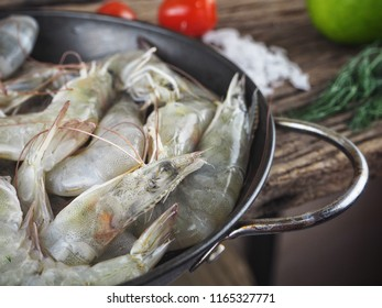 Fresh shrimp seafood on wood background