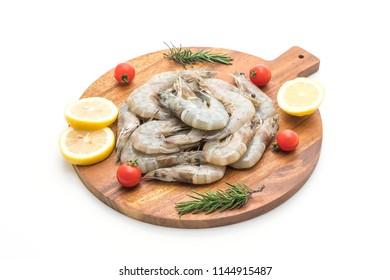 fresh shrimps or prawns raw isolated on white background