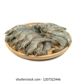fresh shrimps or prawns raw isolated on white background.ready for cooking.