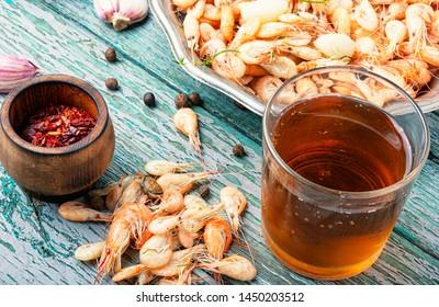 Fresh shrimps or prawns.Cooked fresh shrimps on plate.Seafood concept