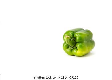 Fresh single sweet pepper,bell pepper or capsicum on white background