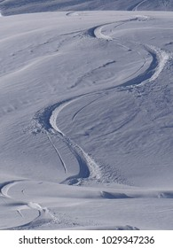 Fresh ski tracks from the Col du Fornet above  the Portes du Soleil town of Avoriaz, France