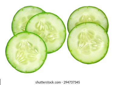 Fresh slice cucumber on white background