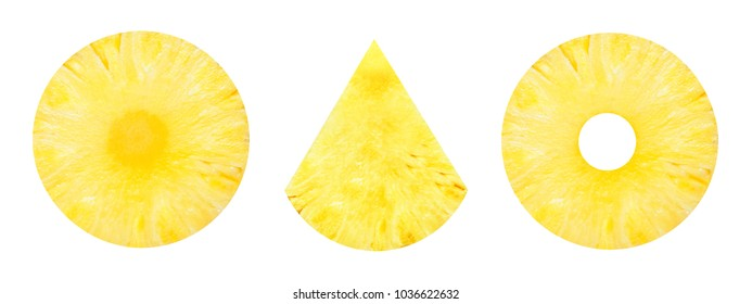 Fresh slice pineapples sphere , triangular isolated on white background.