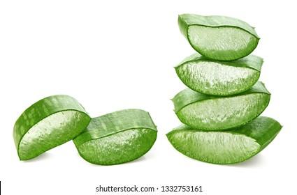 Fresh sliced Aloe Vera leaf isolated on white background