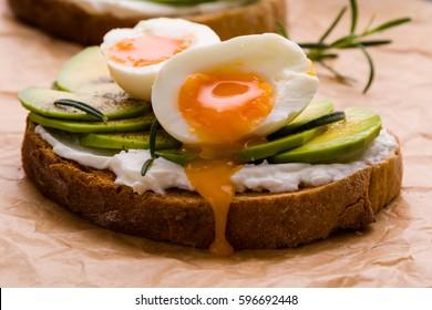 fresh sliced avocado and boiled egg sandwich