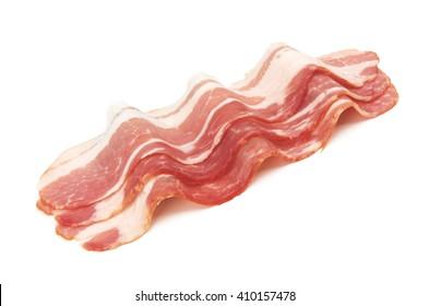 Fresh sliced bacon on white background