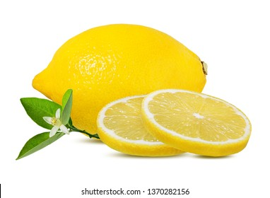 Fresh sliced lemon with leaves  and flower isolated on white background with clipping path