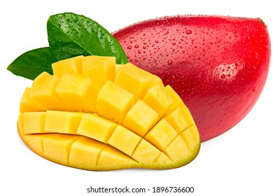 fresh sliced mango with green leaves isolated on white background. exotic fruit. clipping path