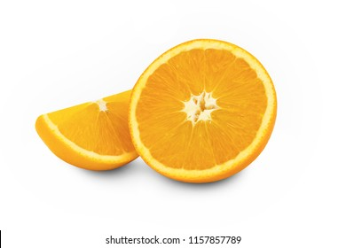 fresh sliced orange isolated on white background