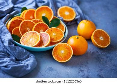 fresh sliced oranges - fruits and vegetables