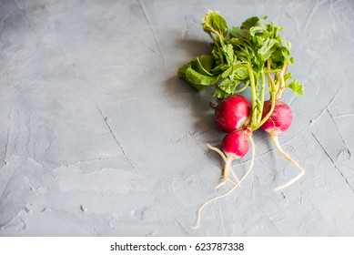 Fresh sliced organic radish vegetable on a cutting board