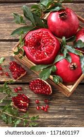 Fresh sliced pomegranates