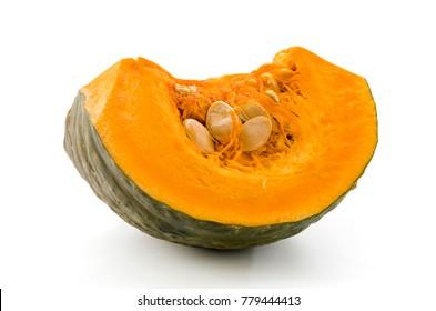 fresh sliced pumpkin(kabocha squash) isolated on white background