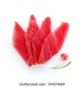 Fresh sliced red tuna fillet isolated on white background