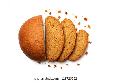 Fresh sliced rye bread loaf with crumbs on white.Bread, slices and crumbs  made with rye flour, yeast, water, salt  and a sour. Contains a large amount of fiber and a small amount of fat.