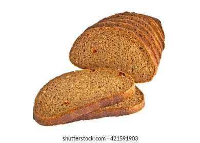 Fresh sliced rye bread loaf isolated on white background