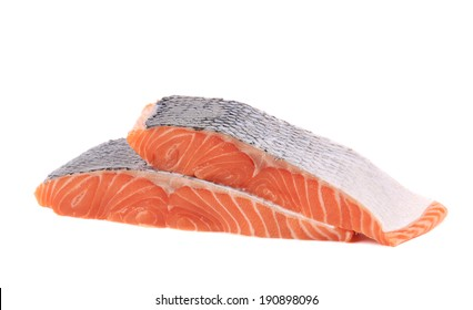Fresh sliced salmon fish. Isolated on a white background.