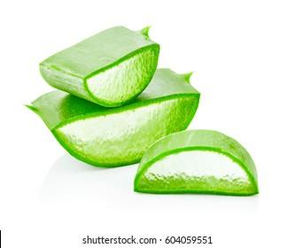 Fresh slices aloe vera isolated on white background