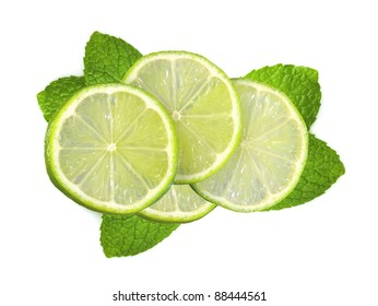 fresh slices lime with leaf mint isolated on white background