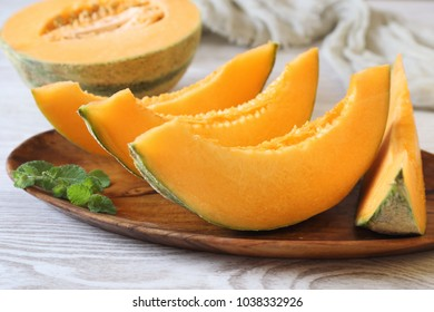 Fresh slices of sweet melon. Selective focus