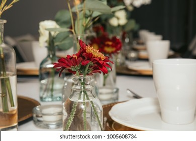 Fresh Small Flower Bouquet For Table Decoration. Table Centerpiece. Flower  In Small Jar