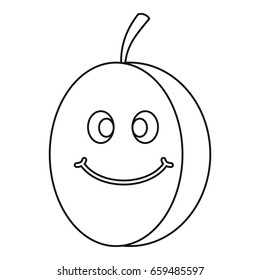 Fresh smiling plum icon in outline style isolated  illustration