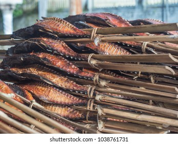 Fresh smoked fish on the small bazaar in Ambon City