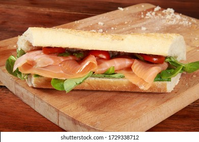 Fresh Smoked Salmon on Baguette a snack or appetizer for main course