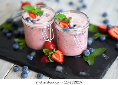 fresh smoothie with strawberry and mint