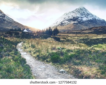 Fresh snow covered peaks of mountains in the Glencoe region of Scotland.