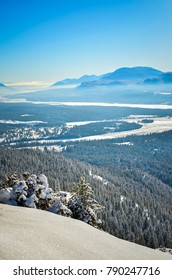 Fresh snow on Swansea Mountain near Invermere, British Columbia, with the Purcell Mountains to the right (west).