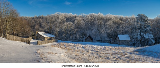 Fresh snow over rustic farmstead, Cumberland Gap National Park