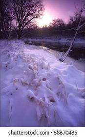 Fresh snowfall at Blackhawk Springs Forest Preserve in Illinois